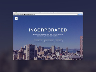 Jekyll Incorporated blog jekyll open source landing page web website flat photo