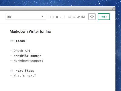 Markdown supported writer for Inc flat monospace minimal simple inc markdown editor text writer
