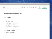 Markdown supported writer for Inc
