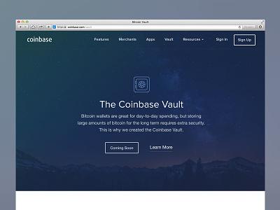 Coinbase Vault bitcoin coinbase vault safe secure night landing web feature website
