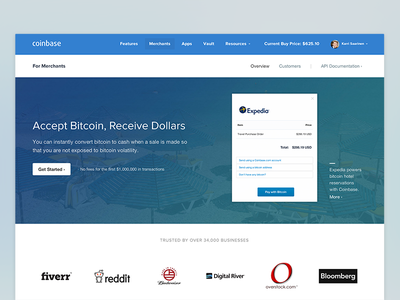 Merchants coinbase merchants travel bitcoin landing sales web website flat