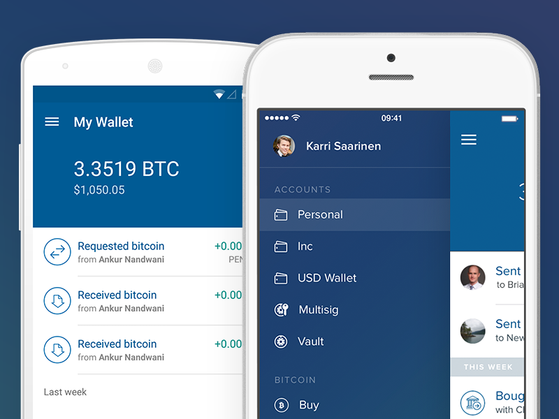 Coinbase for iOS & Android coinbase android ios bitcoin app mobile drawer material design