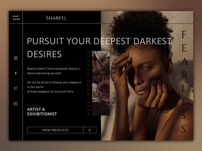 SHARFEL - Beauty Brand Asymmetrical layout web design model fashion asymetrical website web website design ux designer web designer web design ux design ux ui graphic design freelance design
