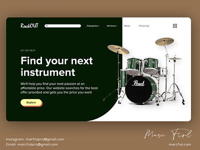 RockOUT - Landing Page Design landing page ui ux design branding