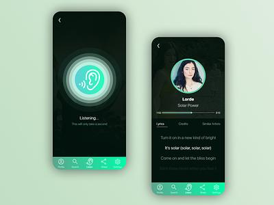 EZListen - Music Identifier App UX Design adobe xd adobe xd app ui design ux design uxui branding app design mobile app ux ui design