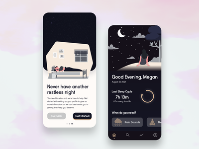 Sleep Aid App UX/UI Design marcfiol fiol marc mobile iphone ios sketch figma xd adobe graphic design branding app design mobile app ux ui design