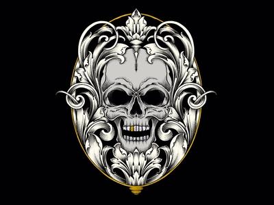 Scollwork & Skull