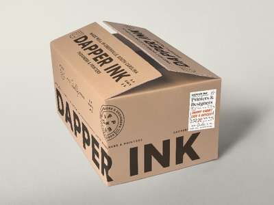 Dapper Ink Shipped icons type typography box package logo design dapper pattern tape packing branding