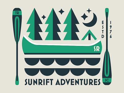 Canoes idea kayaking rafting white water climbing outdoors identity hello colors logo design branding
