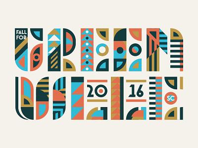Greenville vintage typography type texture screenprint rough printed logo up lock layout branding
