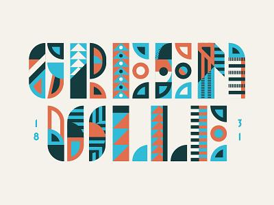 Greenville vintage up typography type texture screenprint rough printed logo lock layout branding