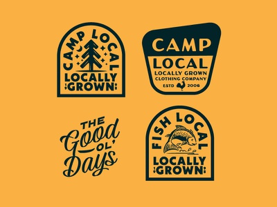 For the Locals screenprint printed stamp texture logo vintage layout type shirt typography apparel branding