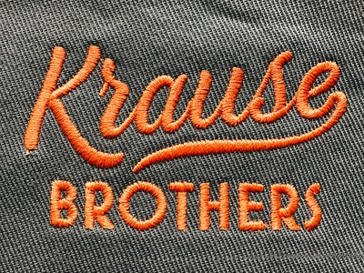 Krause Brothers up thick texture script orange logo lock leaves layout handwritten fruit branding