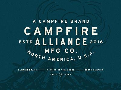 Campfire vintage typography type texture stamp shirt screenprint printed logo layout branding apparel