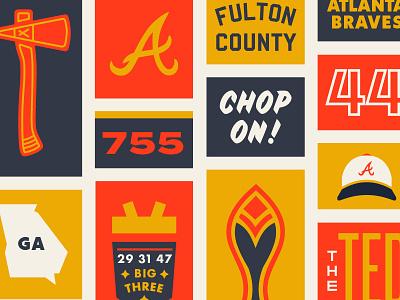 Go Atlanta Braves! illustration shirt badge line work typography baseball braves tomahawk lines logo branding
