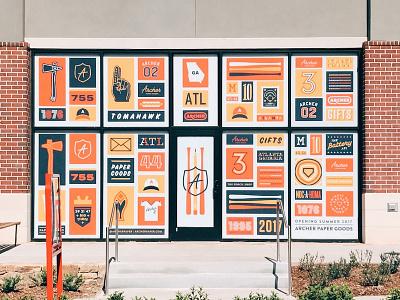 Atlanta Archer Braves Paper Company illustration shirt badge line work typography baseball braves tomahawk lines logo branding