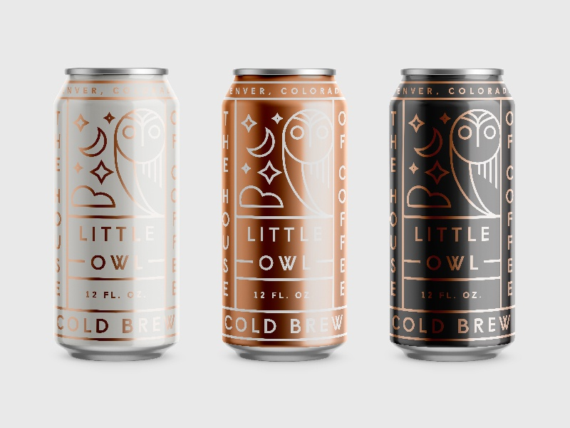 Little Owl beer packaging badge line work typography coffee can system lines logo branding