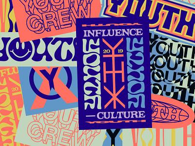 YTHX Stickers sticker pack sticker set sticker design sticker screenprint apparel printed type texture layout grids system pattern badge logo typography branding