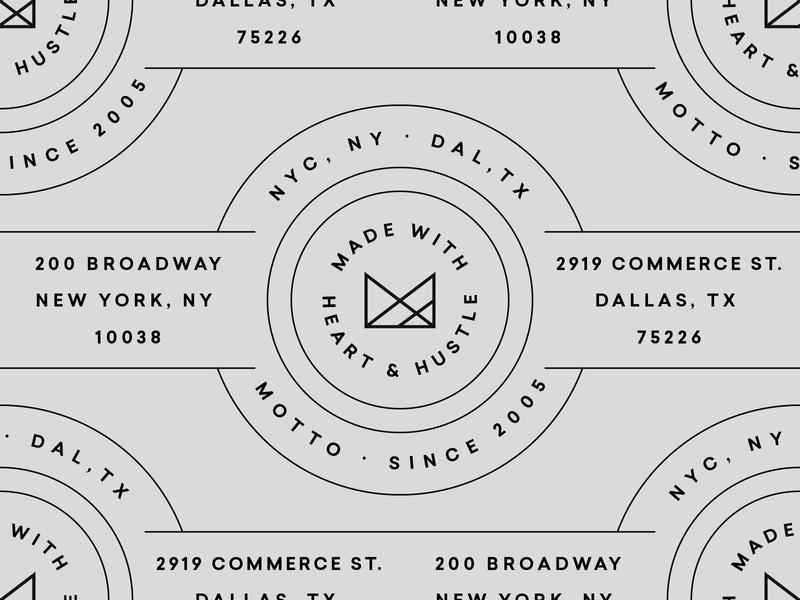 Motto design line work printed type texture layout grids system lines pattern badge logo typography branding