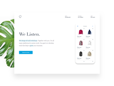New homepage for a digital agency