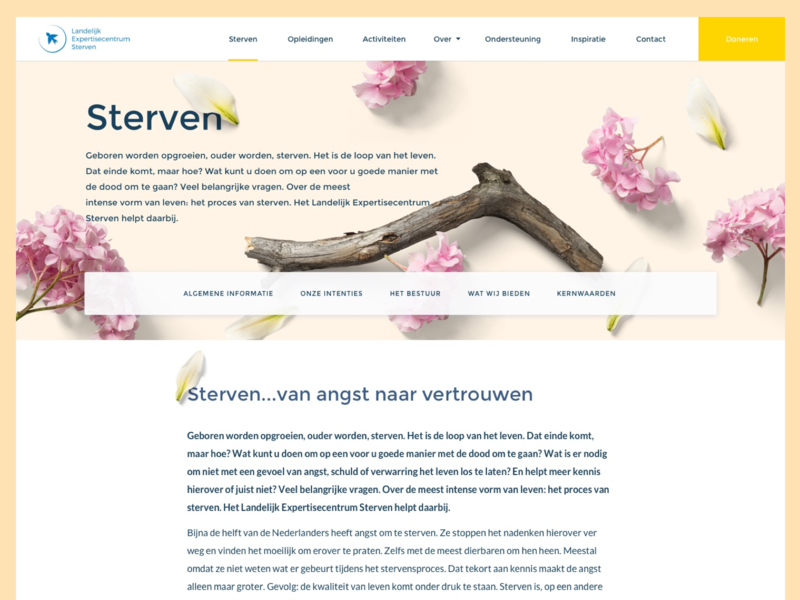 Content page for a Non profit navigation list page donate flowers minimal non-profit content ux design website clean ui