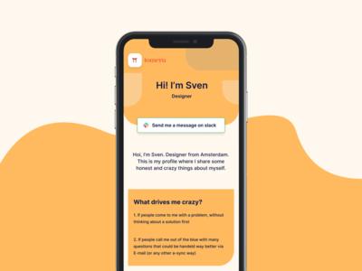 Profile - Work in Progress remote social team profile ux empathy app clean ui