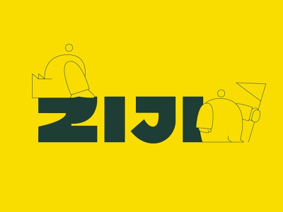 Ziji mascot illustration design minimal branding andstudio symbol logo logotype
