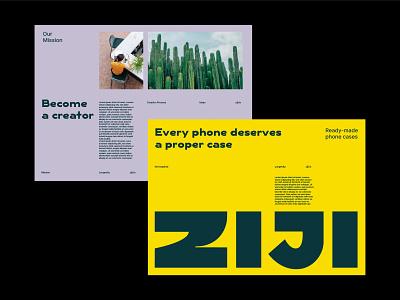 Ziji layouts minimal colors bold editorial layout illustration andstudio branding