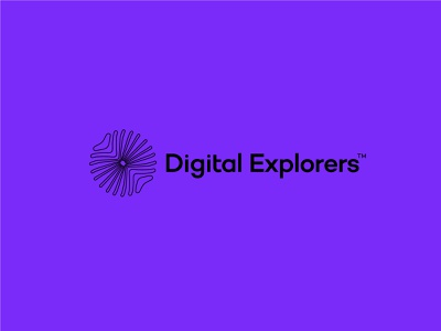 Digital Explorers design brand minimal icon andstudio typography branding logo symbol logotype