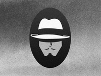 El Jefe criminal black and white mustache hat gangster logo