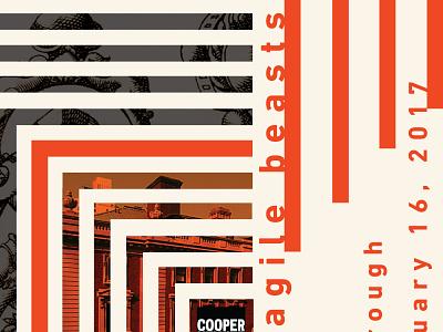 Fragile Beasts art line challenge museum orange poster branding design hewitt cooper