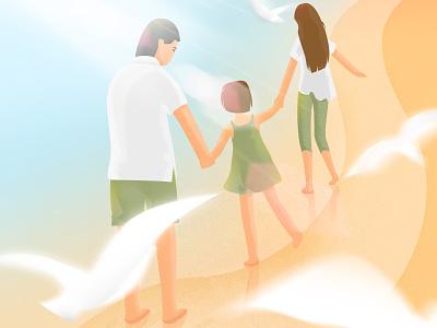 Parental Illustration sandy beach sea parental illustration
