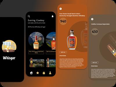 Whisgar - Whiskey & Cigar App cigar whiskey special app design dark branding ui
