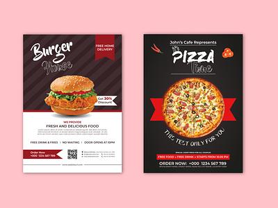 Restaurant Burger - Pizza Sale Flyer Template Design template design flyer restaurant pizza restaurant burger restaurant flyer template restaurant flyer design burger sale flyer pizza sale flyer pizza sale burger sale restaurant flyer