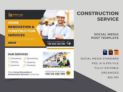 Construction Company Social Media Post Template template design web banner social media banner social media post builder construction site construction company company site construction