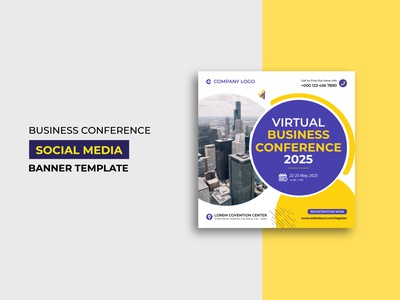 Business Conference Social Media Post Template Design modern professional creative square flyer virtual conference business conference web banner social media banner social media post conference business
