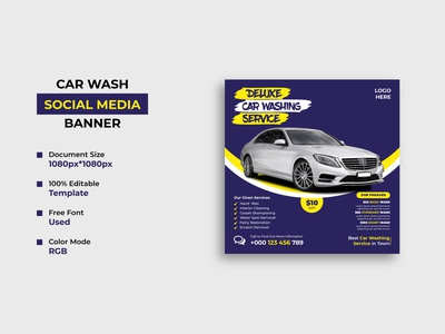 Car Washing Service Social Media Post Template web banner social media banner social media post car wash car washing service