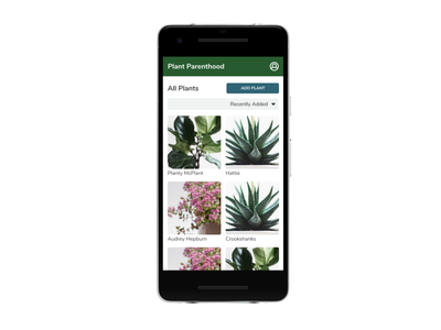 Plant Parenthood MVP - All Plants List list view sort plants lists design ui ux