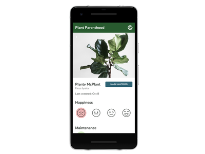 Plant Parenthood MVP - Plant Profile app ui plants profile design ui ux