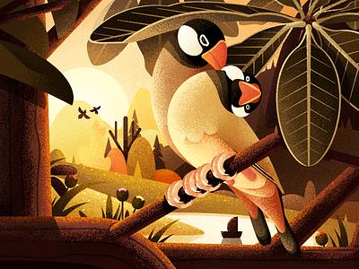 Forest Illustration Series About  Java Sparrow Bird iphone x ios11 lake flower animal java sparrow bird sunshine illustration forest