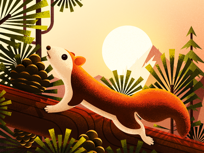 Little Squirrel In The Forest iphone x ios11 illustration sun mountain sunrise pine cone pine tree squirrel forest