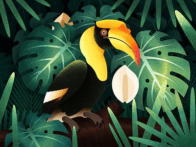 The Hornbill In The Jungle sun  sunrise illustration  ios11  iphone x forest flower bushes bird jungle hornbill