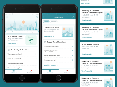 Assignments Tab Explorations ios native react mobile ui