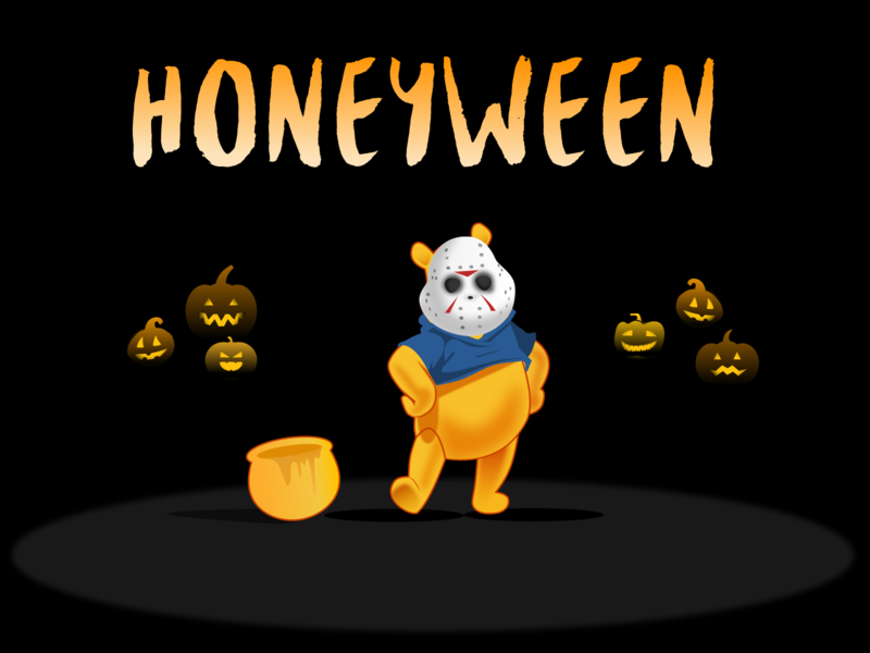 Honeyween disney halloween hal pooh illustration sketch