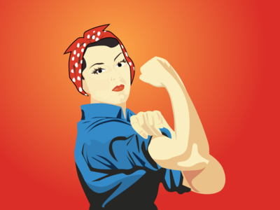 Riveting riveter rosie guns woman sketch vector