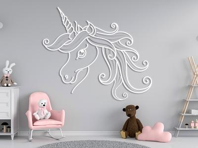 Unicorn 3d wall art unicorn abstract vector illustration design