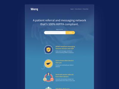 Welcome Lander homepage single page medical startup landing page