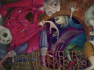 Grimm's fairy tales illustration colours gouache drawing pencil paper book cat fear bones fairy tales brothers grimm