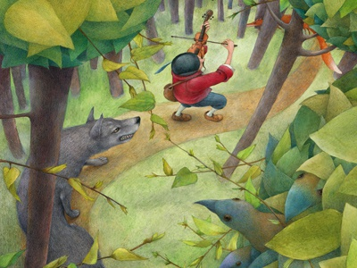the wonderful musician illustration colours gouache drawing pencil paper book wolf fox forest musicant fairy tales brothers grimm