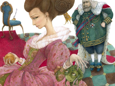 the frog king or iron henry illustration colours gouache drawing pencil paper book king frog fairy tales brothers grimm